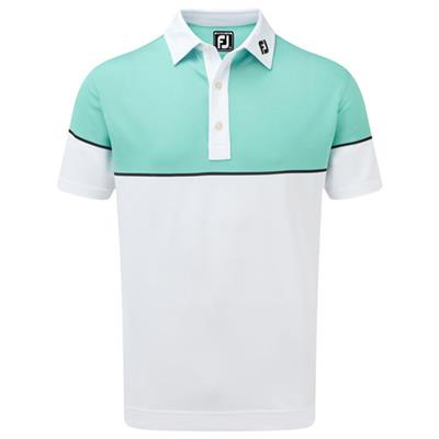 Polo Stretch Pique Colour Block blanc (90094)