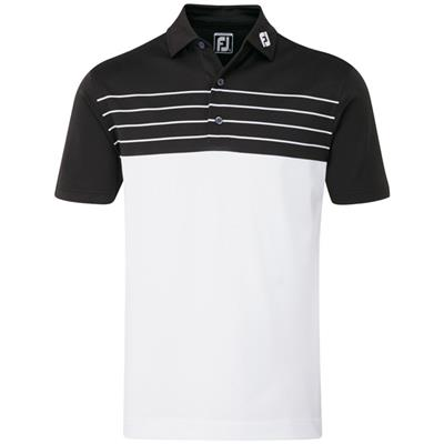 Polo Pique Striped Colour Block blanc/noir (92464)